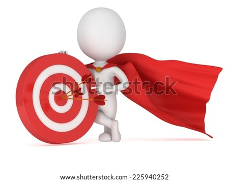 8a3b7d5e26202 3d man brave superhero with red cloak stand near red aim target with three  arrows.
