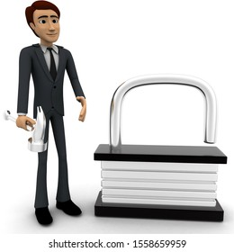 3d man break lock concept on white background, front angle view