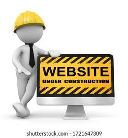 3d man builder with a construction sign