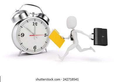3d man business man and alarm clock