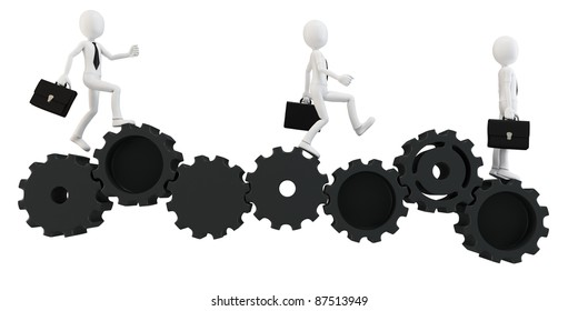3d man businessman running with gears on white