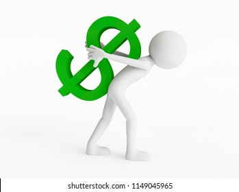 3D man carrying a green dollar currency symbol on his back on a white background. Concept make money. 3D Rendering.
