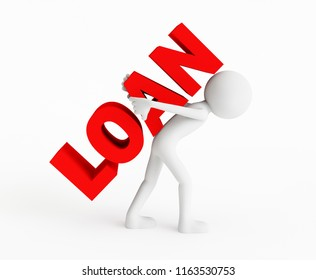 3D man carrying a LOAN name. Concept of finance problems. 3D Rendering.