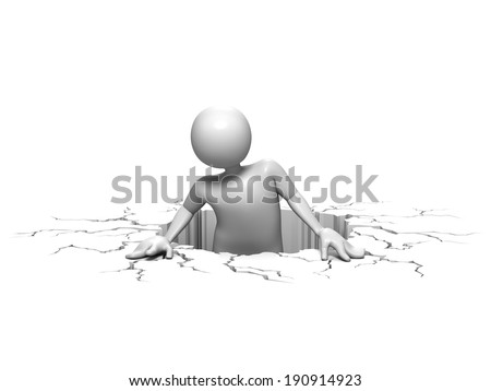 3d Man Climbing Out Of Hole