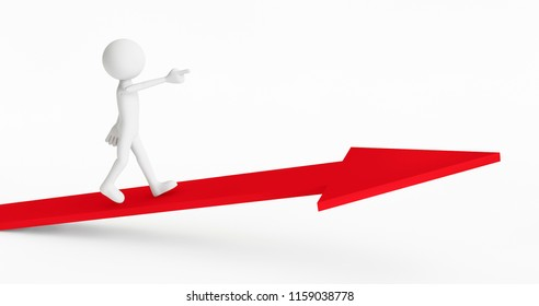 3d man climbing to the top of the arrow on a white background. Concept of businessman success. 3D Rendering.