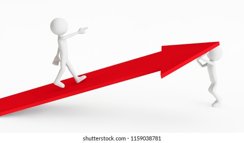 3d man climbing to the top of the arrow with the help of another 3d man on a white background. Concept of business organization. 3D Rendering.