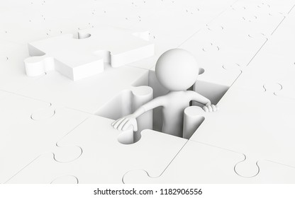 3D man coming out of a jigsaw puzzle. Concept of escape. 3D Rendering.