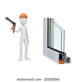 3d man Construction worker with a caulking gun and window profile on white background