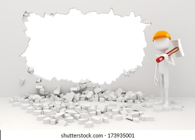 3d man demolishing a wall