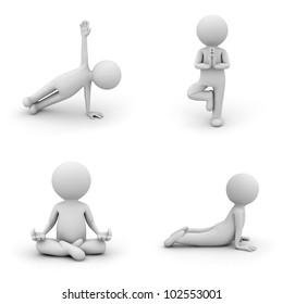 3d man doing yoga exercise isolated on white background