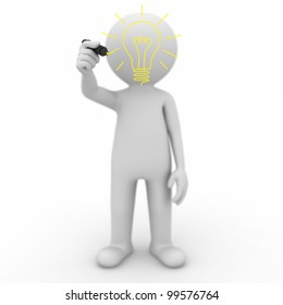 3d man drawing idea light bulb isolated on white background