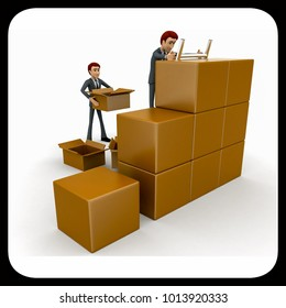 3d man finding in boxes concept on white background, side angle view