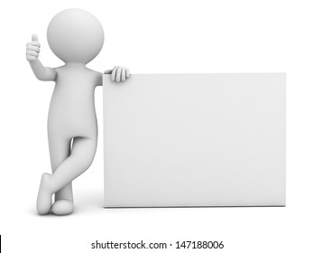 3d man hand showing thumbs up sign with blank board isolated over white background