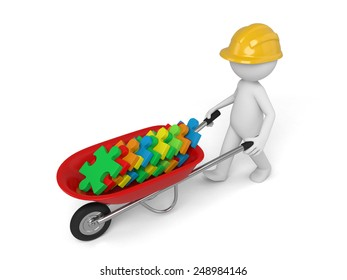 A 3d man in a helmet carry in a wheelbarrow clay puzzles. Isolated on a white background