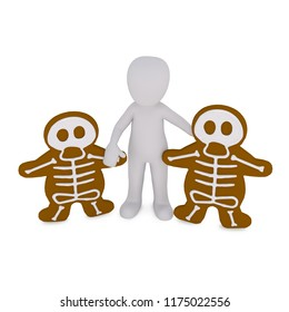 3d man and his creepy gingerbread for halloween
