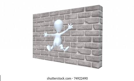 A 3d man hitting a  brick wall