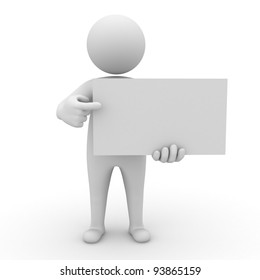 3d man holding blank board and pointing at it isolated on white background