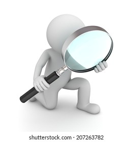 3d man holding magnifying glass isolated over white background