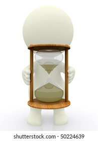3D man holding sand clock isolated over white