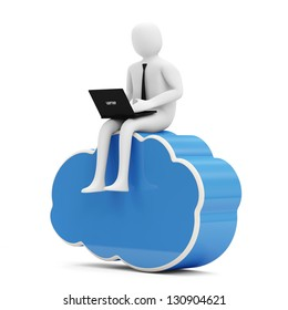 3d Man with Laptop sitting on Cloud Computing Symbol