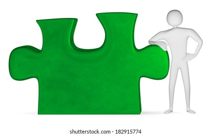3d man leaning on green reflective puzzle piece isolated on white. Front view