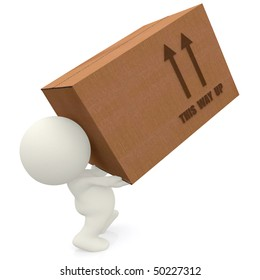 3D man lifting cardboard box isolated over white