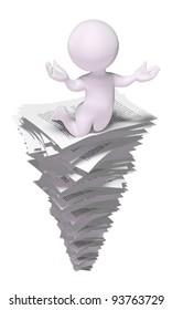 3d man on a stack of papers