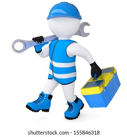 3d man in overalls with a wrench and tool box. Isolated render on a white background
