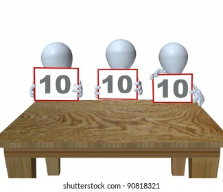 3d man panel of judges at a table
