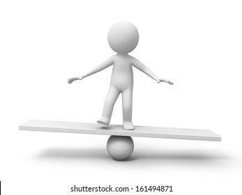 3d man, person, human in equilibrium on a ball