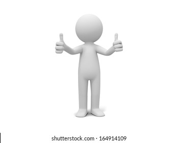 3d man, person, human standing showing thumb up