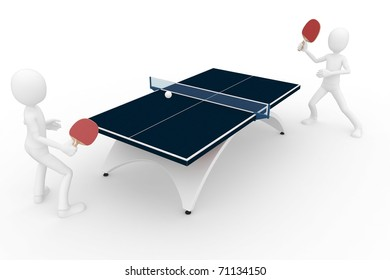 3d man playing ping pong isolated on white