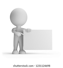 3d man points hand at a poster. 3d image. White background.