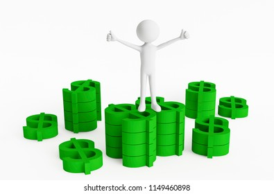 3D man posing and showing ok sign with both hands on the top of stacks of a green dollar currency symbol on a white background. Concept make money. 3D Rendering.