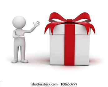 3d man presenting gift box over white background