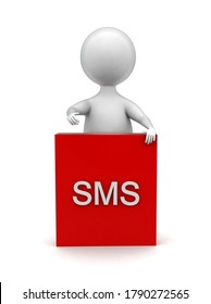 3d man presenting sms banner box concept  - 3d rendering