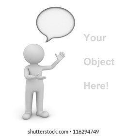 3d man presenting your product over white background with speech bubble