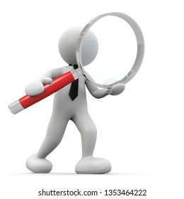 3d man with red magnifying glass