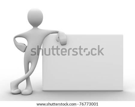 3d man with relaxed attitude leaning on white board from the side