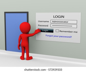 3d man secure login with administrator user ID and password