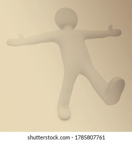 3d man. Series: morning exercises - hands in sides and one leg is exposed forward. 3d rendered on toned background