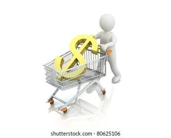 A 3d man with a shopping cart dollar