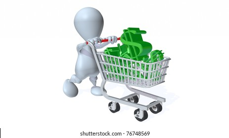 A 3d man with a shopping cart full of dollars