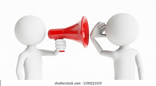 3D man shouting to another person with a megaphone on a white background. Concept of business communication. 3D Rendering.
