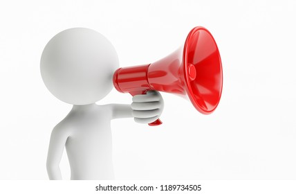 3D man shouting with a megaphone on a white background. Concept of business communication. 3D Rendering.
