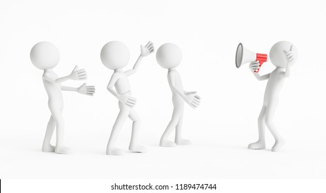 3D man shouting to people with a megaphone on a white background. Concept of business communication. 3D Rendering.
