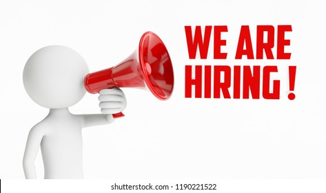 3D man shouting with a red megaphone saying that they are hiring on a white background. Concept of job  hunting. 3D Rendering.