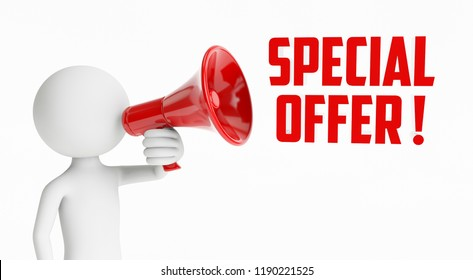 3D man shouting with a red megaphone saying that they have special offers on a white background. Concept of sale. 3D Rendering.