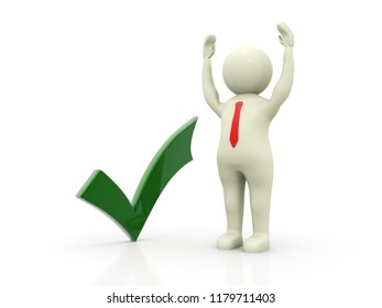 3d man showing thumbs up with green check mark isolated over white background