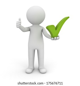 3d man showing thumbs up with green check mark on his left hand over white background